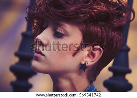 Portrait Cool Hair Style Model Girlyoung Stock Photo - Haircut girl model
