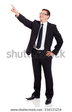 portrait of corporate worker pointing up isolated on white background