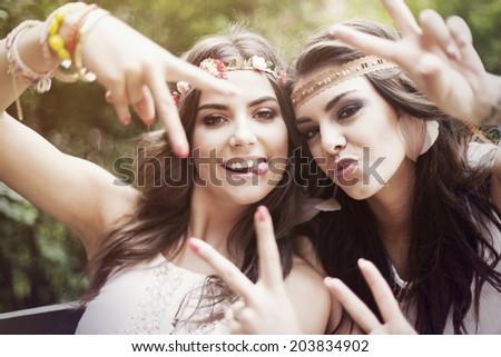 Portrait of crazy beautiful boho girls  - stock photo