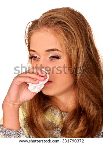 Portrait of crying girl with a handkerchief. The reasons may be different. Colds, allergies or depression. Isolated. - stock photo