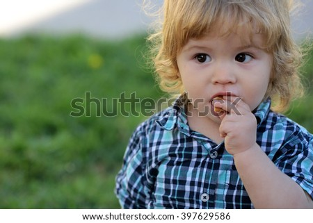Portrait of cute adorable small smart serious boy child with blonde hair in stylish blue checkered shirt eating outdoor on summer green grass background, horizontal picture - stock photo