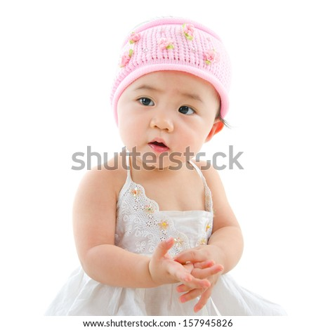 Portrait of cute Asian baby girl, isolated on white background - stock photo