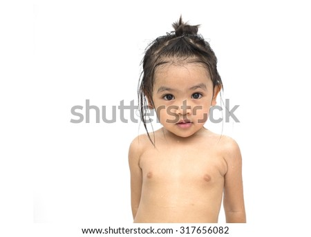 Portrait of cute asian baby to happy after bath , isolate on white background