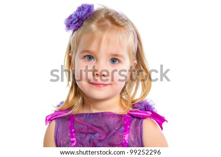 Portrait of Cute beautiful little girl, isolated on white