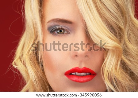 Portrait of cute blond woman