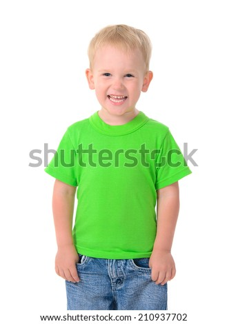 Portrait of cute boy in green t-shirt isolated on white background