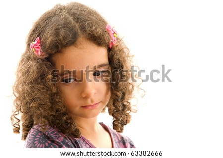 portrait of Cute child with a sad glance - stock photo