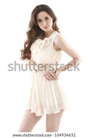 Portrait of cute female fashion model posing - stock photo