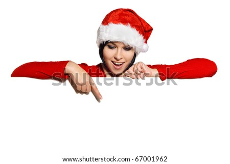 Portrait of cute girl in a Santa cap with Blank sign. Isolated on white - stock photo