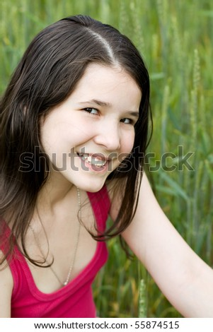 portrait of cute girl in nature - stock photo