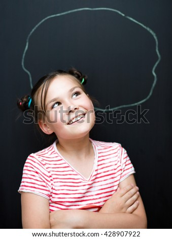 Portrait of cute girl. Success, creative and innovation concept. On black background - stock photo