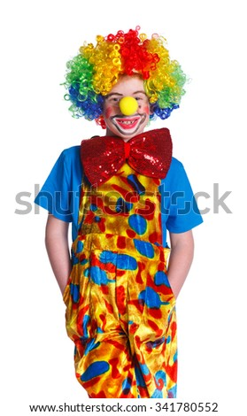 Portrait of Cute happy boy clown over the white background - stock photo