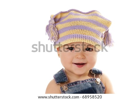 Portrait of cute happy smiling baby girl in funny hat isolated on white background - stock photo