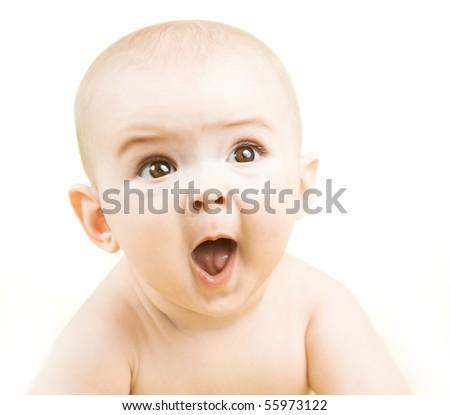 Portrait of cute little baby boy - stock photo