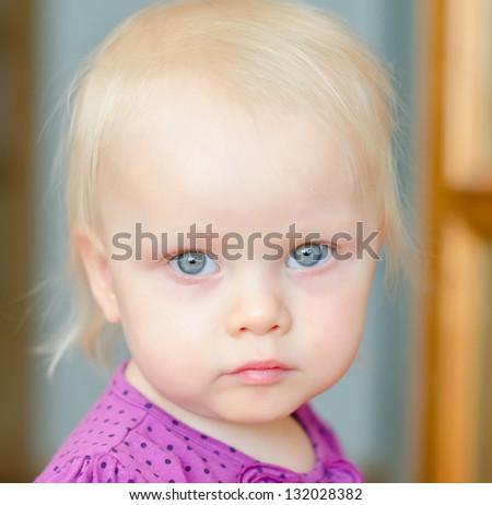 Portrait of cute little baby girl - stock photo