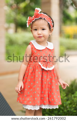 portrait of cute little girl - stock photo
