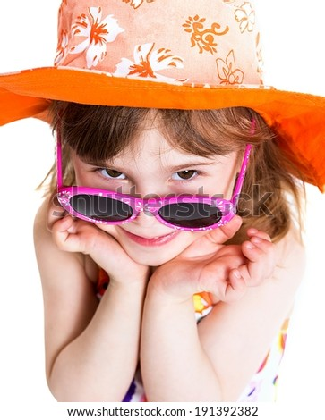 Portrait of cute little girl in summer hat and sunglasses - stock photo