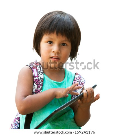 Portrait of cute native american girl holding tablet.Isolated on white. - stock photo