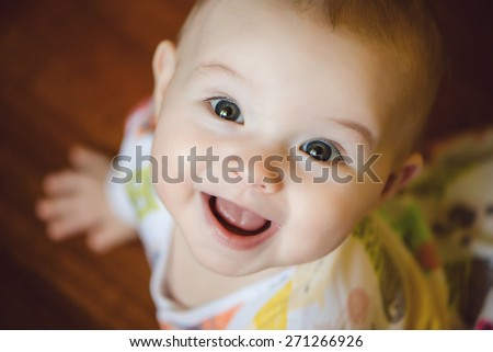 Portrait of cute newborn baby boy - stock photo
