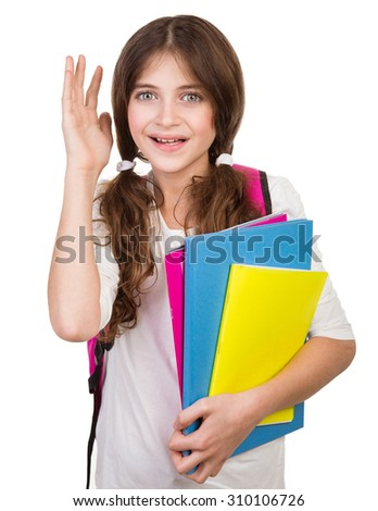Portrait of cute schoolgirl with bag and books in hands isolated on white background, back to school, ready to study something new - stock photo