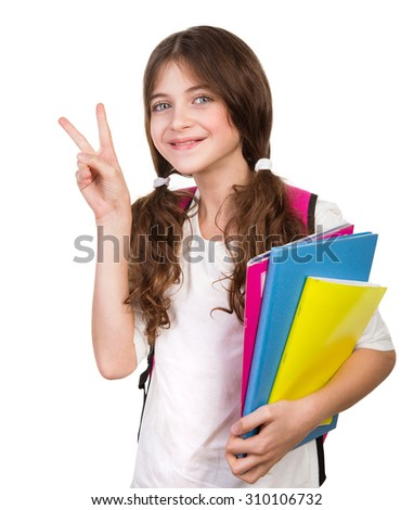 Portrait of cute schoolgirl with bag and books in hands isolated on white background, gesturing good mood by hand, back to school - stock photo