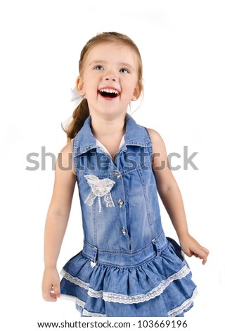 Portrait of cute smiling little girl in dress  isolated