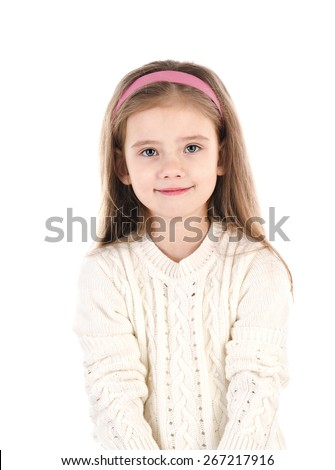 Portrait of cute smiling little girl isolated on white - stock photo