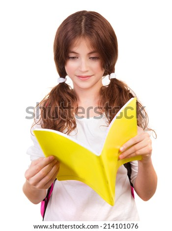Portrait of cute teen girl reading book isolated on white background, doing homework, back to school, knowledge and education concept - stock photo