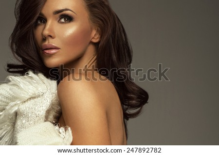 Portrait of cute woman - stock photo