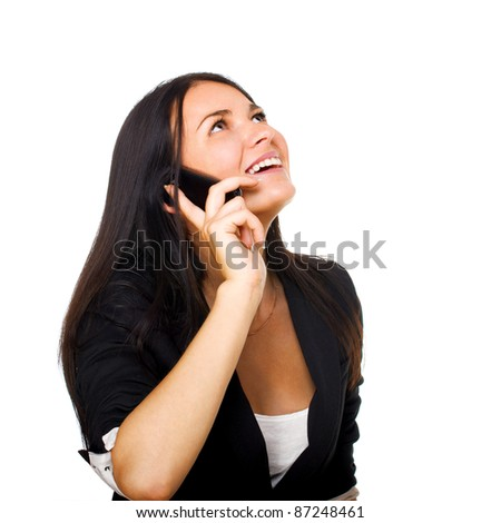 Portrait of cute young business woman with mobile phone. Isolated on white