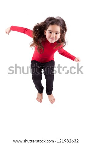 Portrait of cute Young caucasian little girl jumping, over white background - stock photo