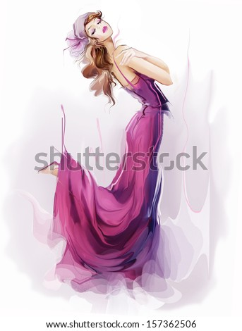 Portrait of dancing girl on retro party  - stock photo