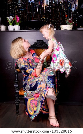 Portrait of Daughter with her mother - stock photo