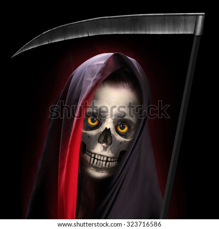 Portrait of death. Grim reaper working every day. - stock photo