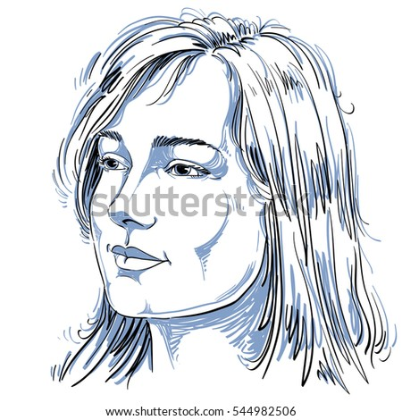 Portrait of delicate good-looking dreamy still woman, black and white drawing. Emotional expressions idea image.