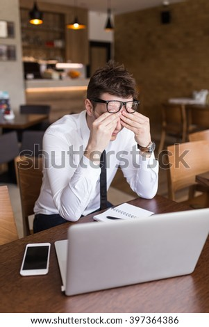 Portrait of depressed man. Selective focus, depth of field - stock photo