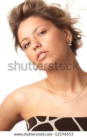 portrait of desire girl isolated on white