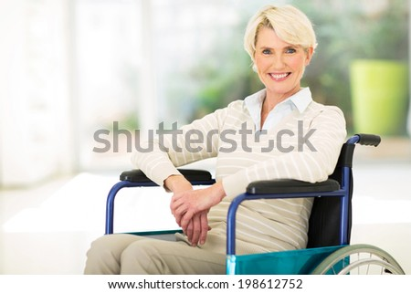 portrait of disabled middle aged woman - stock photo