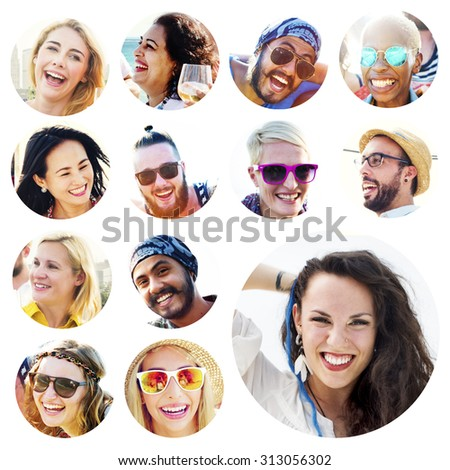 Portrait of Diverse Multiethnic Cheerful People