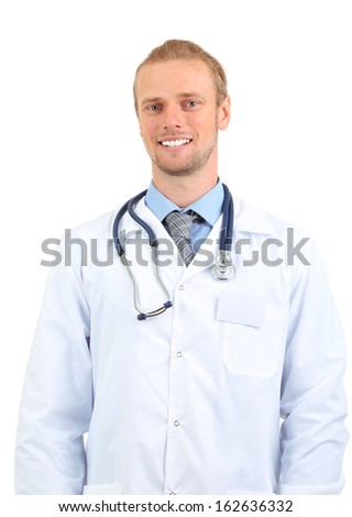 Portrait of doctor isolated on white