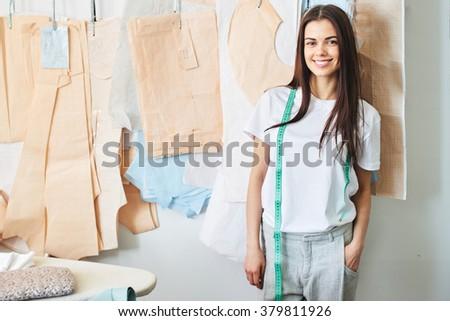 portrait of dressmaker - stock photo