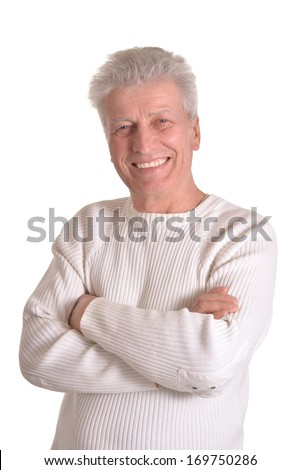 Portrait of elderly man isolated on white background - stock photo