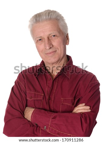 Portrait of elderly man isolated on white background - stock photo