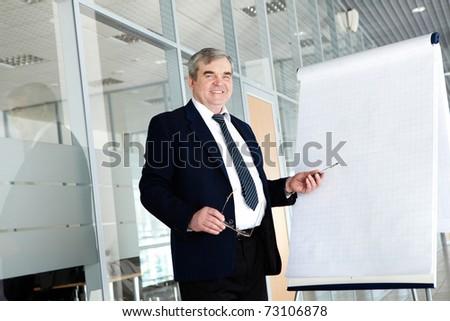 Portrait of elderly teacher pointing at whiteboard in office - stock photo