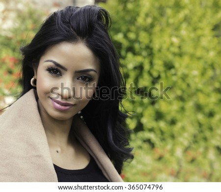 Portrait of elegant beautiful young woman - stock photo