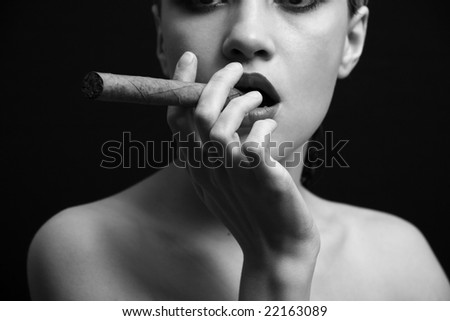Portrait of elegant smoking woman. Fashion photo - stock photo
