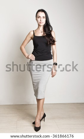 Portrait of elegantly young gorgeous brunette woman. - stock photo