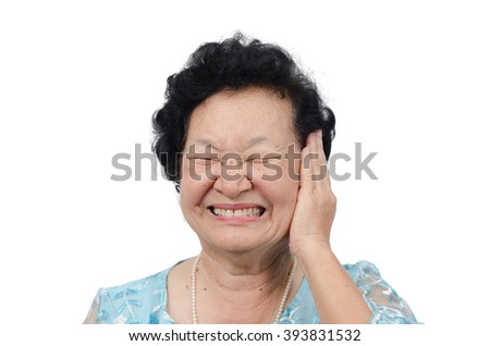 Portrait of emotion asian senior woman with deaf expression on white background, with clipping path - stock photo
