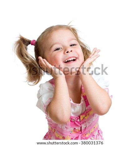 Portrait of emotional child little girl - stock photo