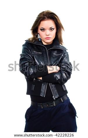Portrait of emotional pretty model - stock photo